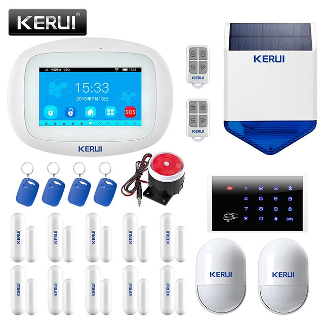 KERUI K52 Large Touch Screen WIFI GSM Alarm System TFT Display Home Alarm System Security Motion Detector Remotes Solar Siren 1