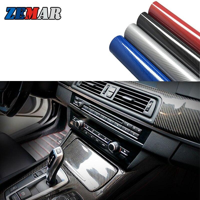 5D En Fiber De Carbone Brillant Autocollants De Voiture Pour BMW E46 coupé E34 E30 E92 Série 1 E87 X3 E83 F25 X6 X1 F11 F22 F34 Accessoires Intérieurs