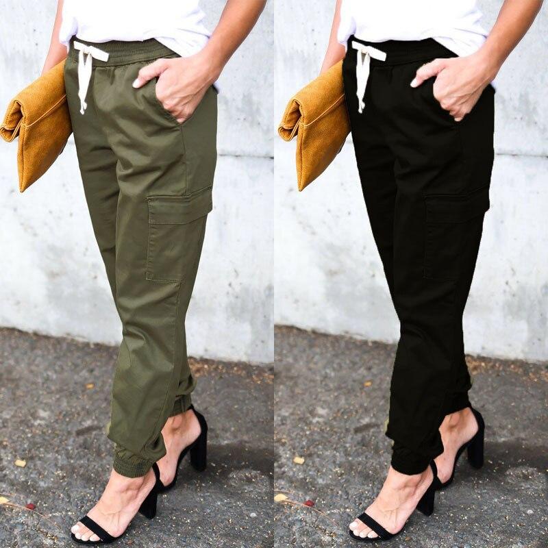 Popular Women's Elastic Waist Lace-up Bib Overall Women's Capri Casual Pants Women Cargo Pants Women Pants