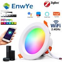 ZigBee RGB Smart LED Downlight Dimming Round Spot Light 7W 9W RGB+Warm+White Color Changing Light Works Alexa AC110-250V