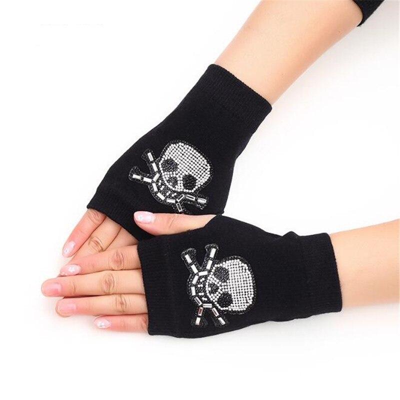 Winter Warm Boy&Girl Students Homework Dew Finger Cartoon Flexibility Gloves,Women Office Knitted Embroidery Fingerless Gloves