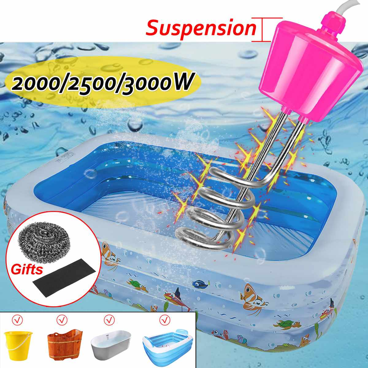 2000/2500/3000W 3M Electricity Immersion Water Heater Element Boiler Portable Water Heating Rods For Inflatable Swimming Pool