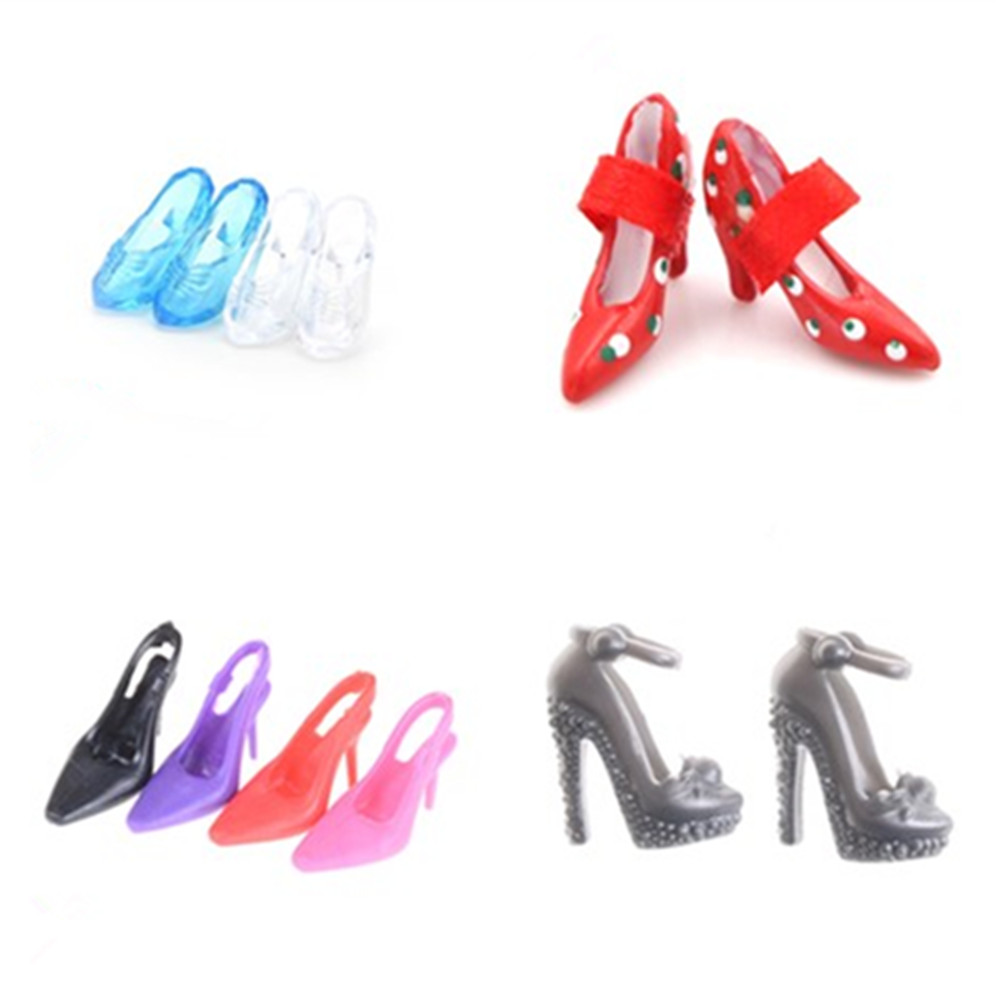 1/2Pairs Imitation Fairy Tale Crystal Shoes Colorful High Heel Sandals For  Doll Clothes Dress DIY Accessories Kids Toys