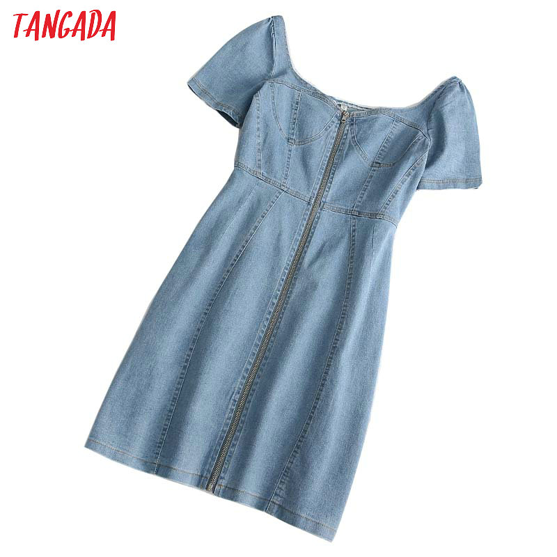 Tangada 2020 Summer Women Zipper Denim Dress Short Sleeve Backless Females Mini Dresses Vestidos 1D309