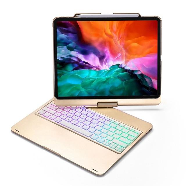 Housse de protection avec clavier, pour iPad Pro pivotant à 12.9 à 2018 degrés, rétroéclairage LED sans fil Bluetooth, avec clavier russe, espagnol et hébreu