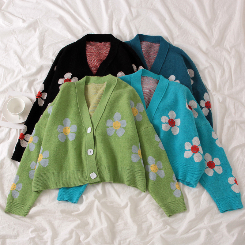 Elegant Floral Knitted Cardigan V-neck Sweater Coat Flowers Printed Casual Streetwear Single-breasted Crop Tops Sueter Mujer