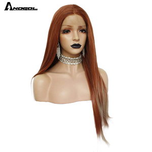 Image 3 - ANOGOL Auburn Orange Synthetic Lace Front Wig Long Straight Middle Part Copper Red Heat Resistant Wig for Women