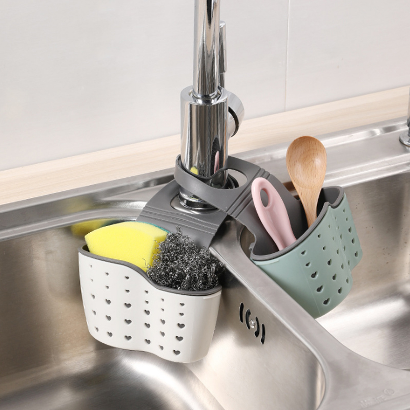 Kitchen Sink Faucet Sponge Soap Storage Organizer Dishcloth Drain Rack Holder B