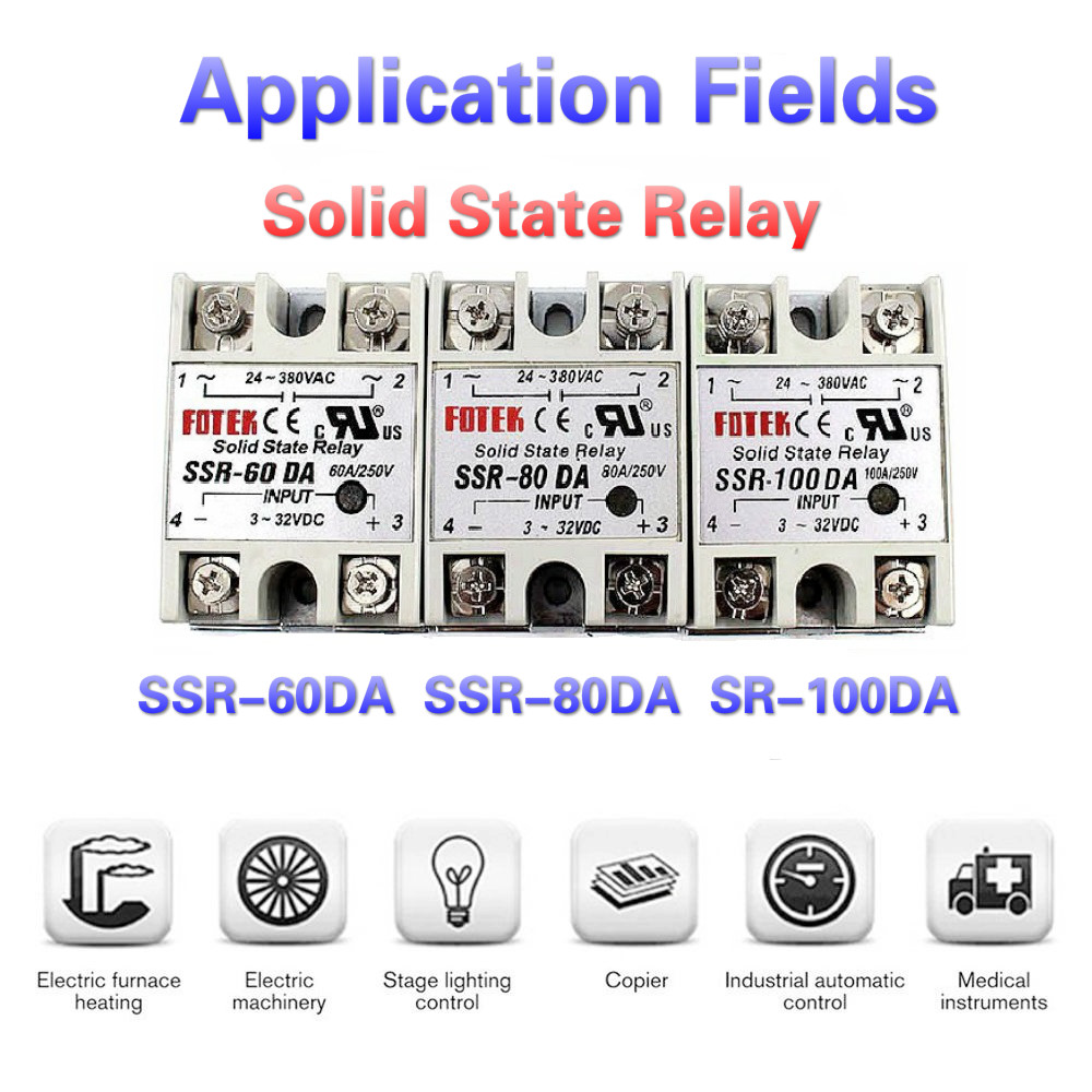 <font><b>SSR</b></font>-<font><b>60DA</b></font> Solid State Relay <font><b>SSR</b></font>-80DA <font><b>SSR</b></font>-100DA 60A 80A 100A 3-32V DC TO 24-380V AC <font><b>SSR</b></font> <font><b>60DA</b></font> 80DA 100DA HEAT SINK RELAY HOLDER image