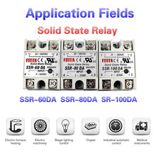 SSR-60DA Solid State Relay  SSR-80DA SSR-100DA 60A 80A 100A 3-32V DC TO 24-380V AC SSR 60DA 80DA 100DA HEAT SINK RELAY HOLDER meigeer 100a ssr 100da three phase solid state relay jgx 032 mgr 3 032 38100z