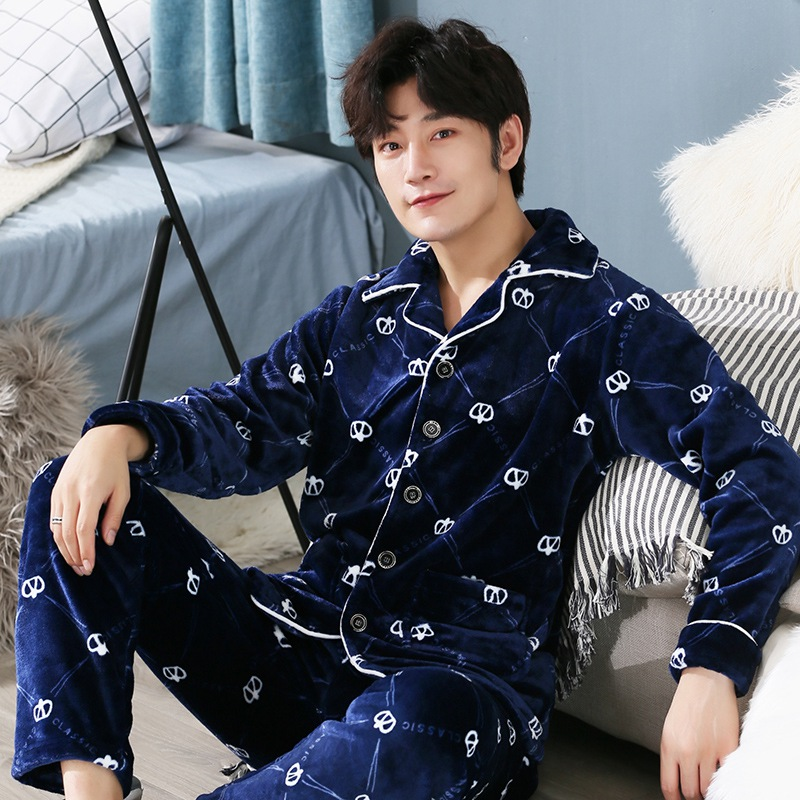 Plus Size 5XL Thick Warm Flannel PajamaS Sets For Men 2019 Winter Long Sleeve Coral Velvet Sleepwear Loungewear Homewear Clothes