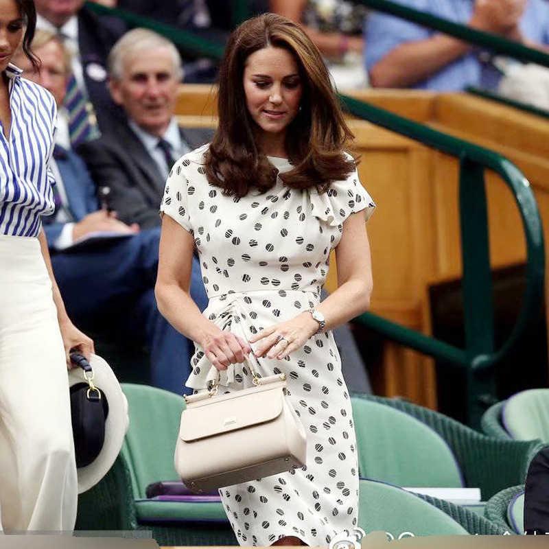 Kate Middleton prenses yüksek kalite yaz yeni kadın moda parti Casual seksi işyeri Vintage zarif Chic nokta kalem elbise