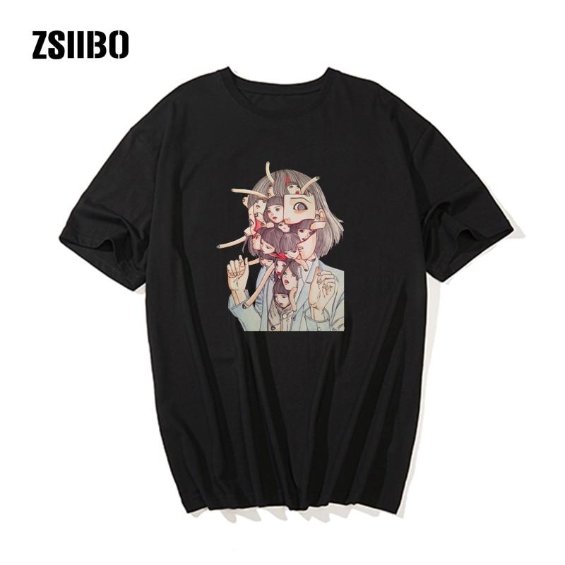 Manga Junji Ito T Shirts extraordinary girl Tees Top Design Short-sleeved Aesthetic Japanese Anime freaky heads Slim Fit T-Shirt(China)