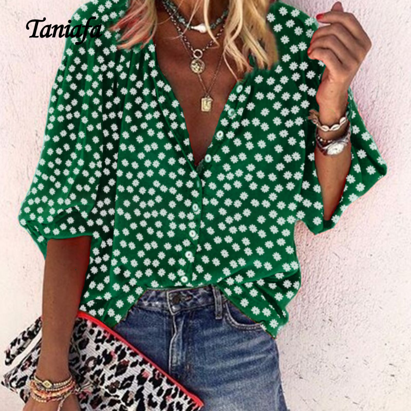 Tanifa 2019 Fashion Floral Print Shirts Women V Neck Long Sleeve Button Tops Casual Loose Plus Size Blouse