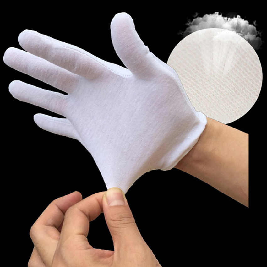 12 Pairs /Lot White Cotton Gloves Comfortable Breathable Serving Gloves For Work Coin Jewelry Silver Costume Inspection, M / L