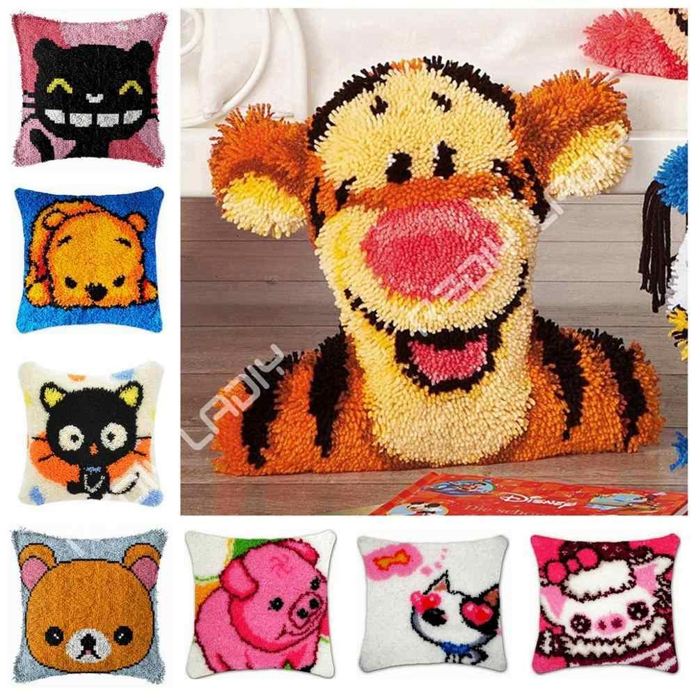 ラッチフック & 子猫クッションカバー事前印刷されたキャンバス糸かぎ針アート & クラフト枕ケースソファベッド枕家の装飾