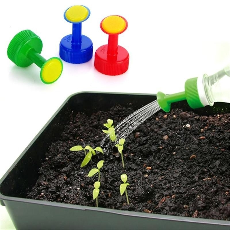 H86a17b6f8b924b94b3fd428ee69b5e89C 3pcs Gardening Plant Watering Attachment Spray-head Soft Drink Bottle Water Can Top Waterers Seedling Irrigation Equipment