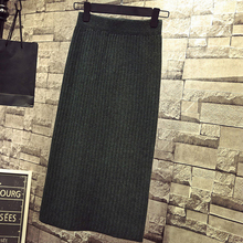 Women Back Slit Bodycon Elegant Midi Pencil Skirt Autumn Winter Casual Knitted