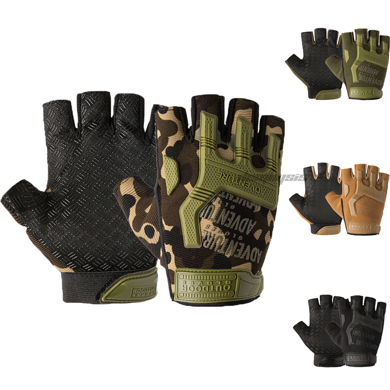 Outdoor Hunting Gloves Non slip Durable Tactical Hiking Half Finger Gloves Airsoft Paintball Hard Knuckle Combat Camping Glove|Hiking Gloves| |  - title=