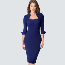 סתיו מקצועי נשים פורמליות נדן Bodycon Slim אלגנטי עבודת עסקי משרד ליידי שמלת HB471