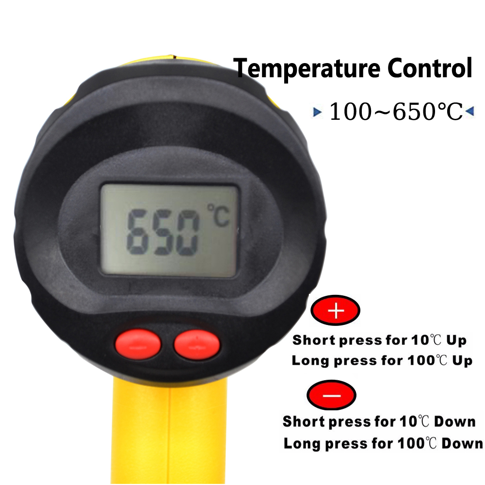 Image 5 - 220V 2000W EU Industrial Electric Hot Air Gun Thermoregulator Heat Guns LCD Display Shrink Wrapping Thermal  power tool-in Heat Guns from Tools on