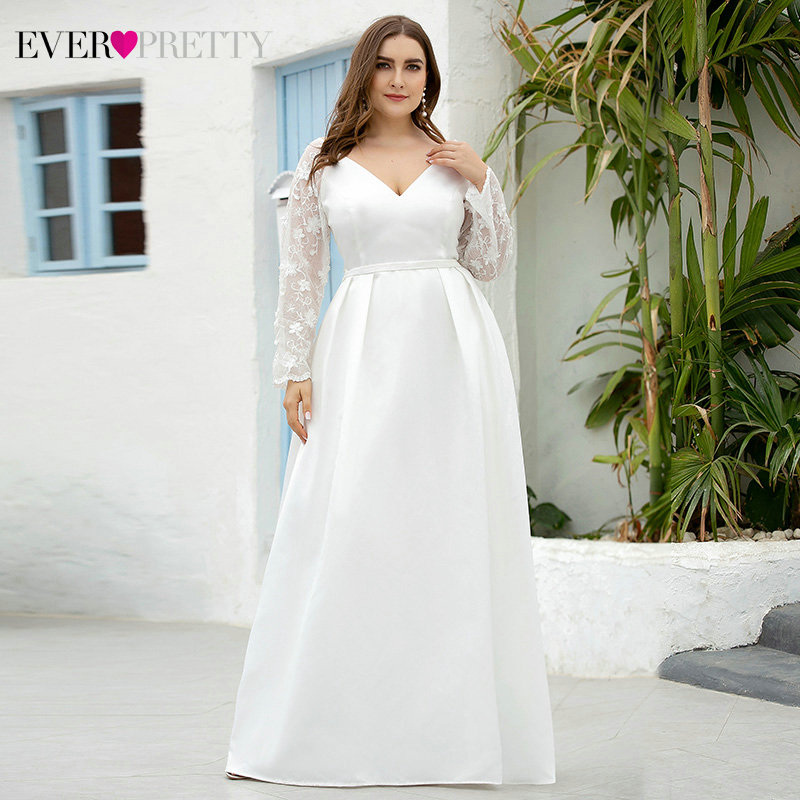 Plus Size Floral Lace Wedding Dresses Full Sleeve A-Line Deep V-Neck Draped Satin Formal Bride Gowns Vestido De Noiva 2020