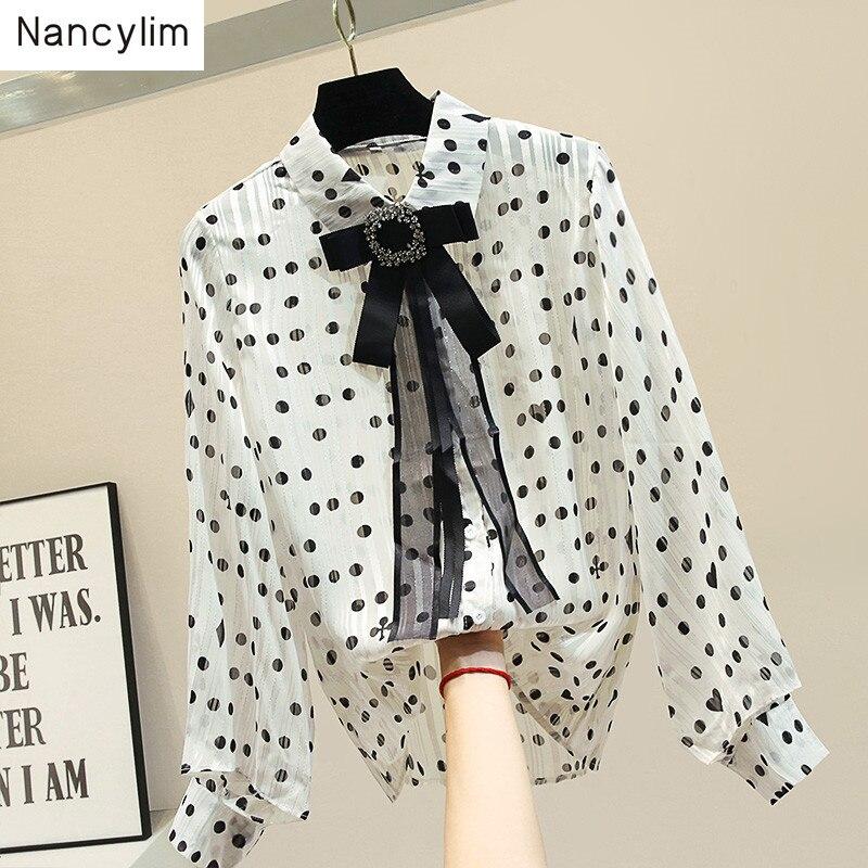 Automne femmes à manches longues Blusas pour les femmes 2019 nouveau noeud revers en mousseline de soie chemise blanche femmes rétro point Blouse lanterne manches chemises