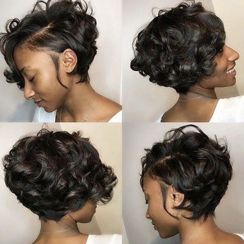 Sapphire Short Pixie Cut Curly Human Hair Wigs For Women Natural Color Remy Hair Curly High Density Glueless Human Hair Wigs