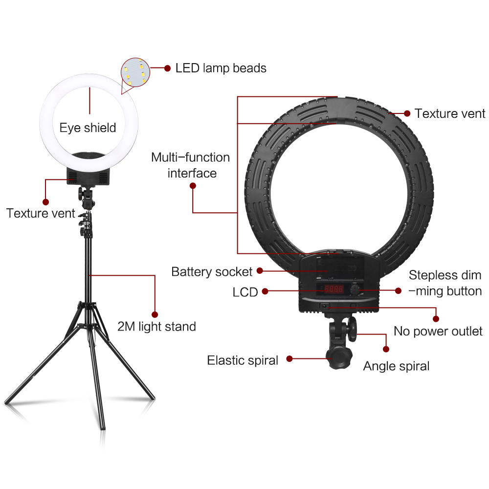 Image 2 - Photography 12inch Portable LED Ring Light With Tripod Stand 3200  5600K For YouTube Video Shooting, Live Streaming, Selfie,  VlogPhotographic Lighting