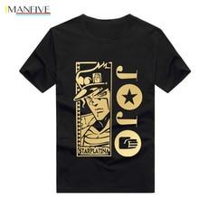 Hot sale JoJo Bizarre Adventure T Shirt Funny Design Manga Anime T-shirt Cool black T shirt Men Fashion Printed Tee цены