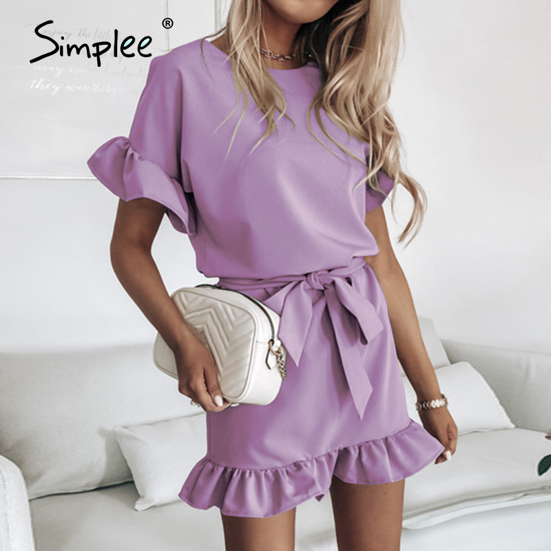 Simplee Leisure A-line Ruffle women's dress Elegant round neck Mini Dress Holiday commuter new style in spring and summer 2020