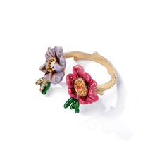 European and American jewelry hand-painted enamel glaze flower open ring, personalized fashion gold-plated adjustable ring femal