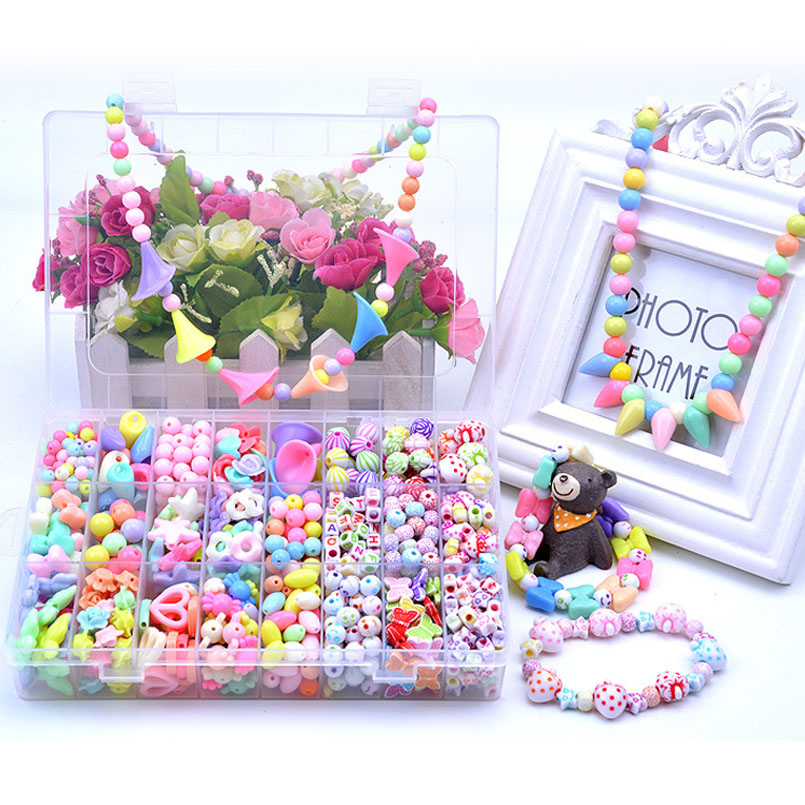 DIY Colorful Acrylic Beads Girls Toys Set Jewelry Handmade Making Puzzle Kit Arts And Crafts Children Educational Toy Gifts