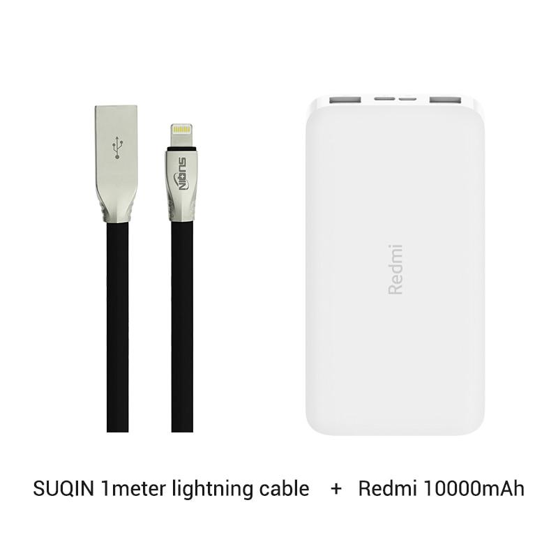 Xiaomi Redmi 10000 мАч Внешний аккумулятор внешний аккумулятор Двойной USB вход выход Двусторонняя зарядка портативный для телефона - Цвет: add Lightning cable