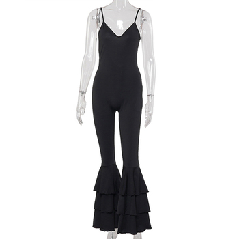 Women Solid Color V-Neck Ruffles Skinny Jumpsuits Ladies Sexy Backless Sleeveless Playsuits Jumpsuits Size S M L black deep v neck sleeveless backless zip design playsuits
