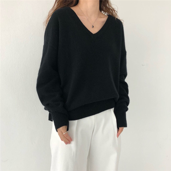 Ailegogo New 2020 Autumn Winter V-Neck pullover Warm Women Sweaters Fashion Sexy Casual Korean Style Female Jumpers SW7113 5