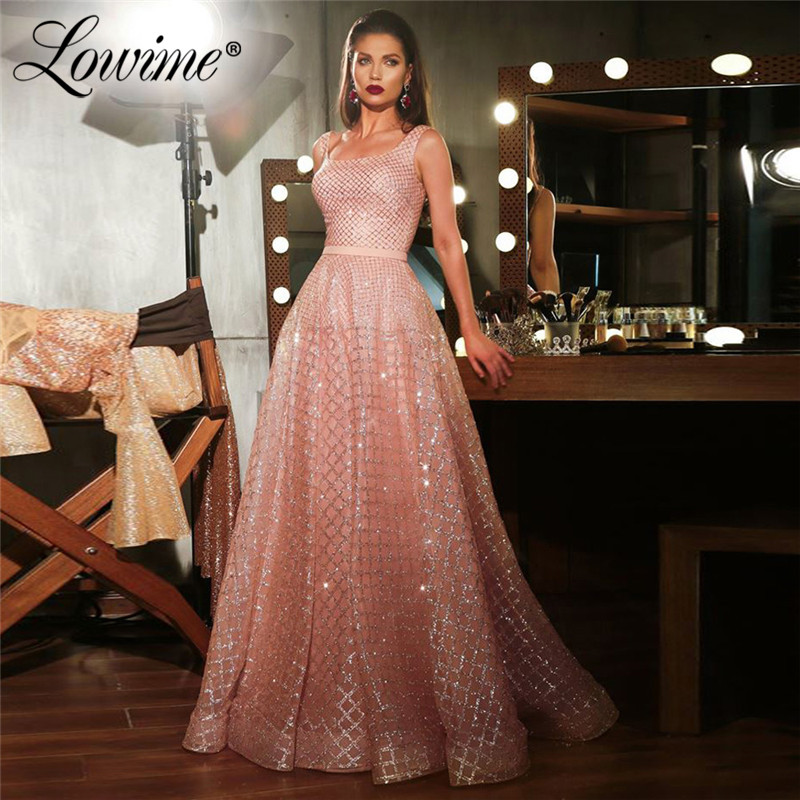 Dubai Pink Glitter Evening Dresses Islamic Turkish Women Party Gown Arabic Prom Dresses Long Robe De Soiree 2020 Custom Made