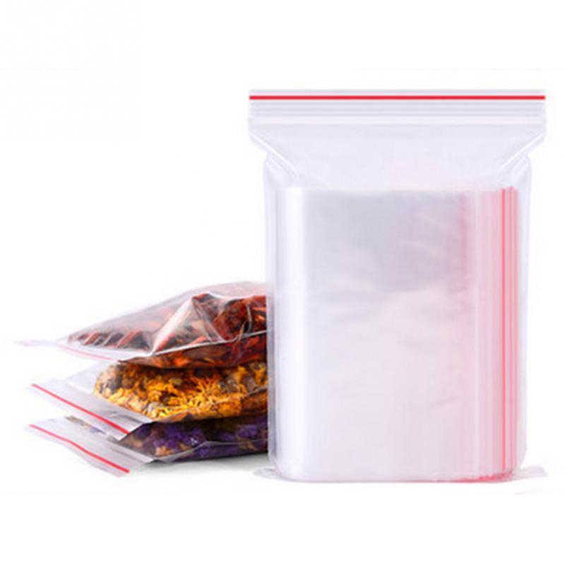 500 adet/paket küçük Zip kilit plastik poşetler vakum saklama çantası açılıp kapanabilir şeffaf çanta ayakkabı çantası poli şeffaf plastik çantalar takı kilitli