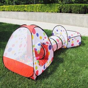 Image 3 - 3 pièces/ensemble bébé jouer tente jouets piscine à balles pour enfants océan balle piscine fosse pliable bébé Pipeline ramper jeu maison