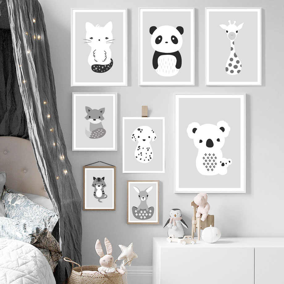 Panda Koala Dog Fox Tiger Deer Nursery Wall Art Print Canvas Painting Nordic Posters And Prints Wall Pictures Baby Kids Room