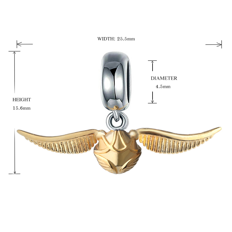 New brand 100 925 Sterling silver Cute beads Golden Snitch Charms Fit Authentic pandora Bracelets for Women DIY Fashion Jewelry in Beads from Jewelry Accessories