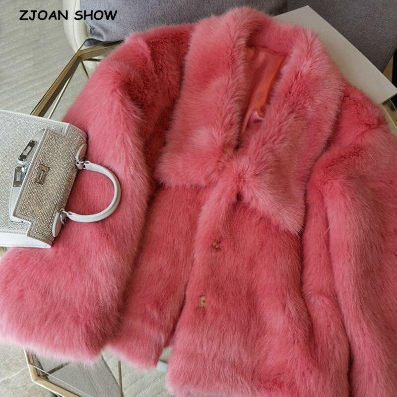2020 Winter Cozy Square Lapel Hairy Shaggy Faux Fur Coat pink Trendy Women Long sleeve Furry Fur Warm Jacket Short Outerwear