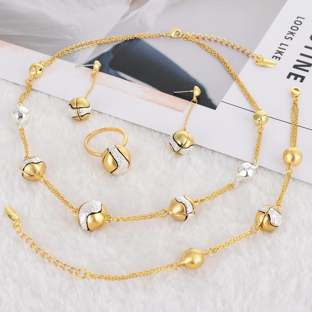 Viennois ensemble de bijoux pour femmes couleur or Rose Design collier boucles d'oreilles mélange couleur anneau Bracelet bijoux de fête