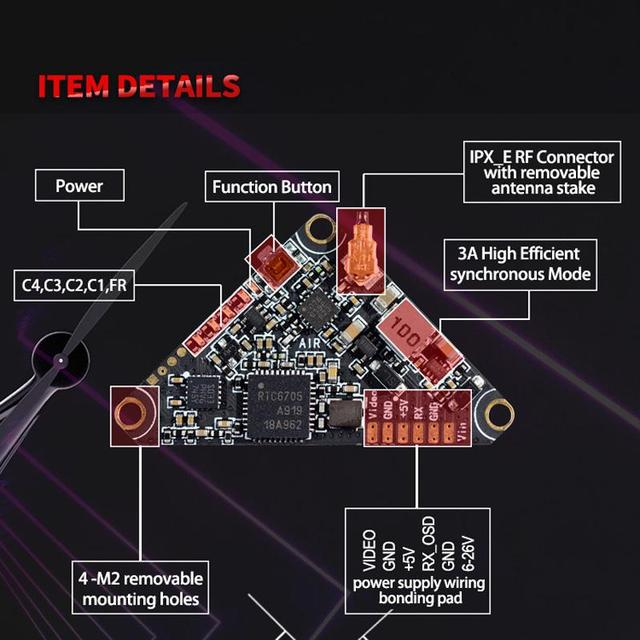 PandaRC VT5804 AIR 5.8GHz 40CH 0/25/50/100/200/400mW FPV Video Transmitter Triangle VTX Support OSD For RC Racer Drone