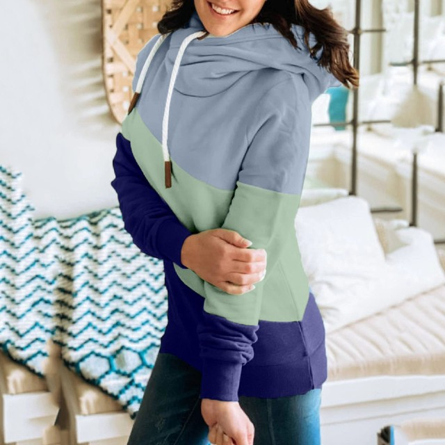 Female Hoodies Women Oversized Sweatshirts Autumn Winter Contrast Stitching Long Sleeve Pullover Top Warm Women's Clothing#LR2 4