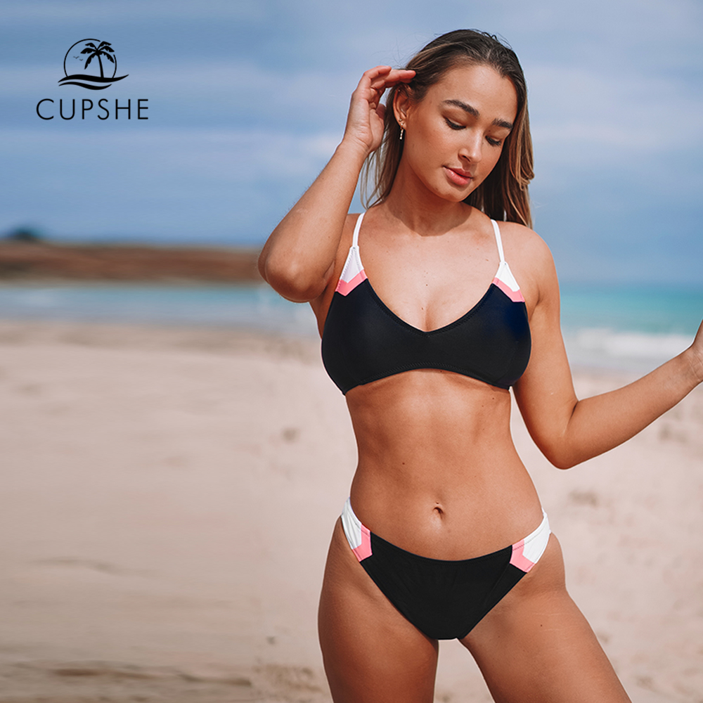 CUPSHE Navy Sport Lace Up Bikini Sets Women Sexy Colorblock Two Pieces Swimsuits 2020 Girl Beach Bathing Suits Swimwear|Bikini Set|   - AliExpress