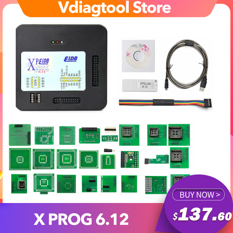 <font><b>Xprog</b></font> v6.12 X PROG 6.12 ECU programmer EEPROM adapter <font><b>XPROG</b></font>-<font><b>M</b></font> ECU programmer and USB dongle image