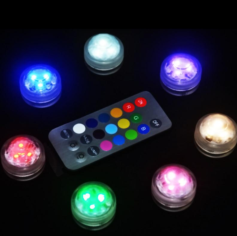 Dozzlor Remote Control Submersible LED Candle Light Waterproof RGB Table Lamp Decoration Full Color LED Diving Light