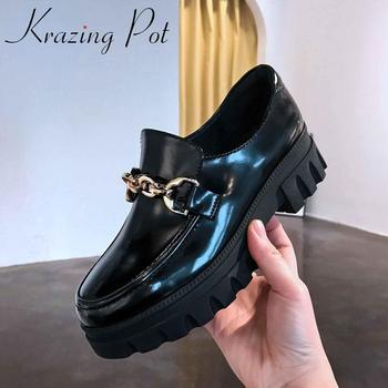 Krazing pot leisure genuine leather round toe high heels thick bottom metal chain decoration British school vulcanized shoes L25