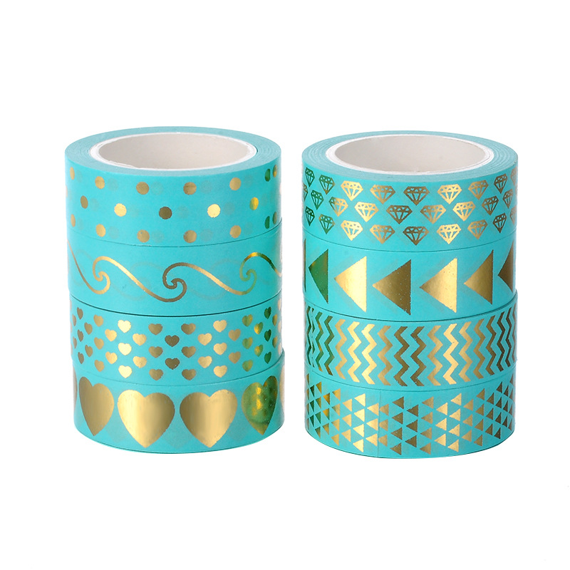 8pcs Mysterous Washi Tape Set 15mm Mint Green Color Diamond Wave Love Arrow 15mm Adhesive Masking Tapes Stickers Decoration F938